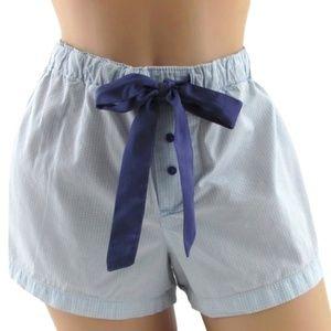 Faded Glory Blue Gingham Ribbon Sleep Shorts